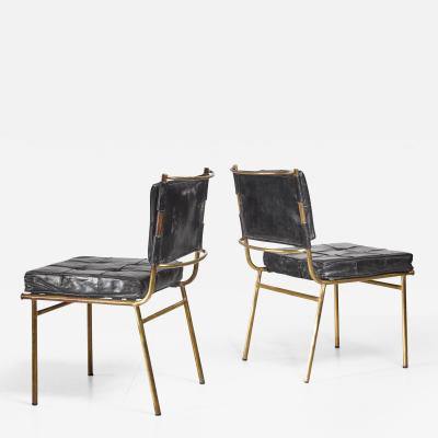 Mathieu Mat got Mathieu Mat got Rare Pair of Brass and Leather Chairs France