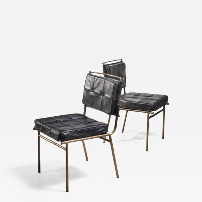 Mathieu Mat got Mathieu Mat got Rare Pair of Brass and Leather Chairs France