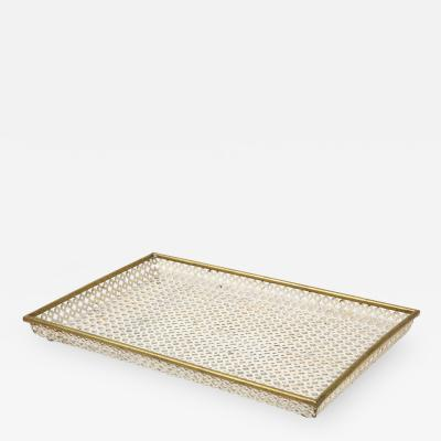 Mathieu Mat got Mathieu Mat got White Tray Perforated Metal Brass Enamel France c 1950