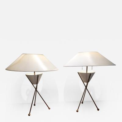 Mathieu Mat got Mathieu Mategot Pair of Mid Century Table Lamps France circa 1955