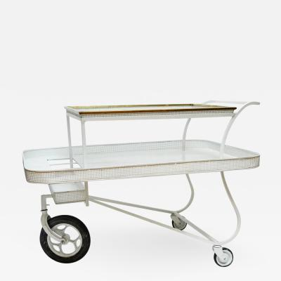 Mathieu Mat got Mathieu Mategot Serving Cart with Removable Tray in White Enameled Metal
