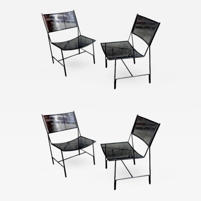 Mathieu Mat got Mathieu Mategot Unique Set of Four Black Metal Chair Models Panamera
