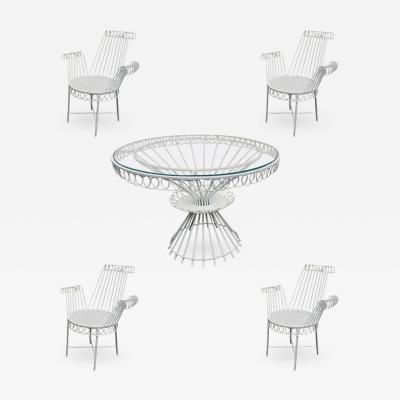 Mathieu Mat got Mathieu Mategot model Cap d ail Dining Set with Table and 4 Armchairs