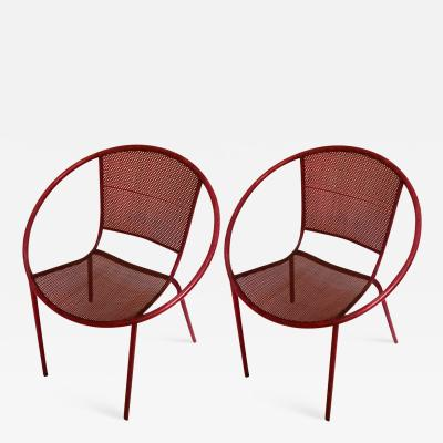 Mathieu Mat got Mathieu Mategot style charming pair of outdoor chairs in vintage condition