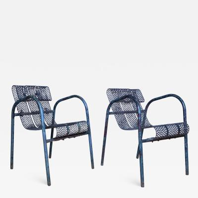 Mathieu Mat got Pair French 1950s Perforated Metal Garden Chairs Mathieu Mat got Attr