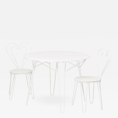 Mathieu Mat got Restored Mathieu Mategot Patio Outdoor Set of One Table and Two Chairs