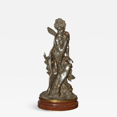 Mathurin Moreau Fine Quality Art Nouveau Gilt and Silvered Bronze Figure of Psyche
