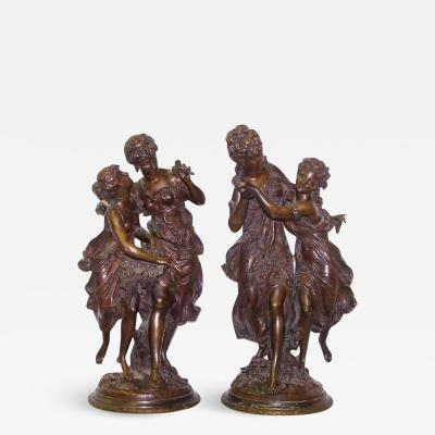 Mathurin Moreau Fine Quality Pair of Patinated Bronze Figural Sculptures of Dancing Women