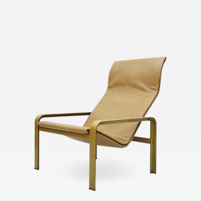 Matteo Grassi Lounge Chair by Matteo Grassi in Cognac Brown Leather Italy 1970s