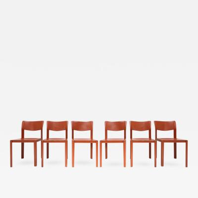 Matteo Grassi Set of Six Terracotta Leather Chairs