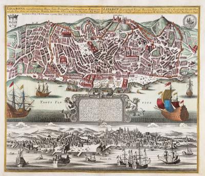 Matthew Seutter A plan of Lisbon with a striking prospect