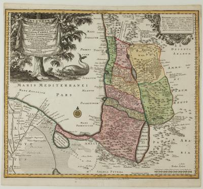 Matthew Seutter An unusual map of the Holy Land
