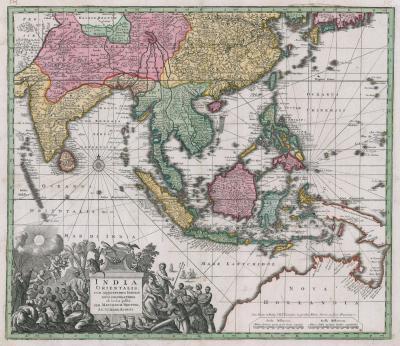 Matthew Seutter The Far East with an elaborate title cartouche
