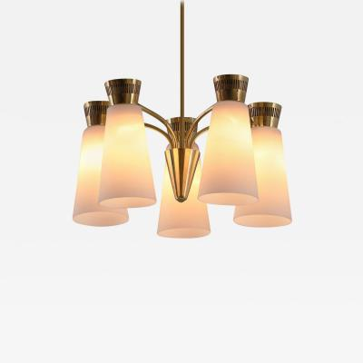 Mauri Almari 1950s Mauri Almari Five Glass Brass Chandelier for Itsu Finland