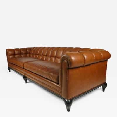 Maurice Bailey Biscuit Tufted Leather Sofa by Maurice Bailey for Monteverdi Young
