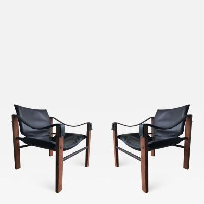 Maurice Burke Pair of Black Safari Chairs by Maurice Burke for Arkana