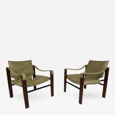 Maurice Burke Pair of Safari Lounge Chairs by Maurice Burke for Arkana