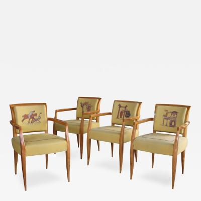 Maurice Dufr ne A Rare Set of 4 French Maurice Dufrene Sycamore Game Chairs
