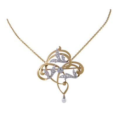 Maurice Dufr ne Art Nouveau Gold and Platinum Pendant