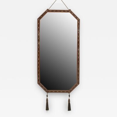 Maurice Dufr ne French Art Deco Mahogany Horizontal 8 Sided Narrow Wall Mirror