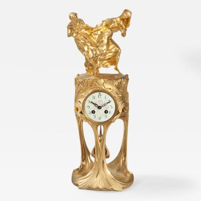 Maurice Dufr ne French Art Nouveau Gilt Bronze Clock by Dufr ne
