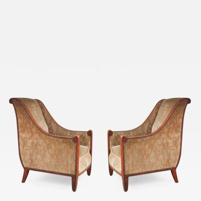 Maurice Dufr ne Maurice Dufr ne Pair of Sculpted Club Chairs