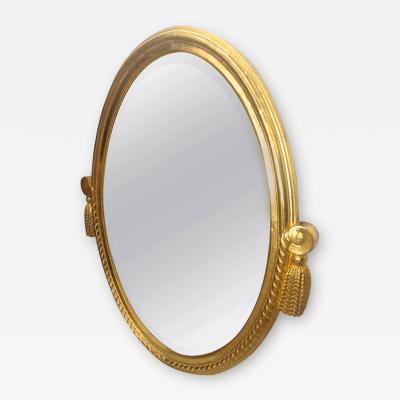 Maurice Dufr ne Maurice Dufrene Art Deco Gold Leaf Carved Oval Mirror