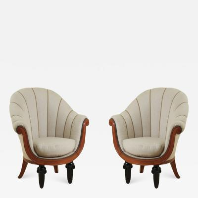 Maurice Dufr ne Maurice Dufrene Pair of Early Art Deco Armchairs