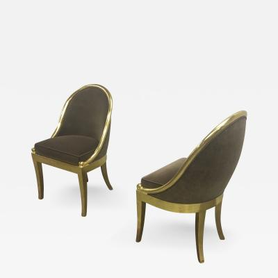 Maurice Dufr ne Maurice Dufrene Refined Empire Inspired Gold Leaf Wood Pair of Side Chairs