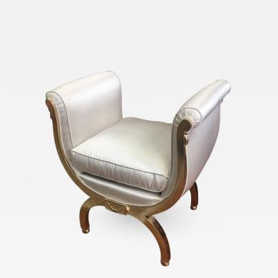 Maurice Dufr ne Maurice Dufrene Refined Gold Leaf Curdle Stool in Satin silk