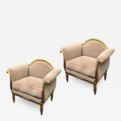 Maurice Dufr ne Maurice Dufrene awesome refined art deco carved gilt wood frame chairs