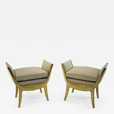 Maurice Dufr ne Maurice Dufrene pair of gold leaf carved wood stools