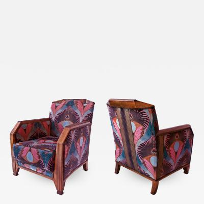 Maurice Dufr ne Pair of French Late Art Deco Mahogany Bergeres