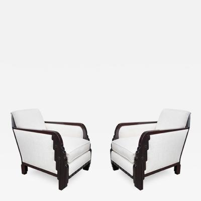 Maurice Dufr ne Pair of Maurice Dufrene Art Deco Club Chairs