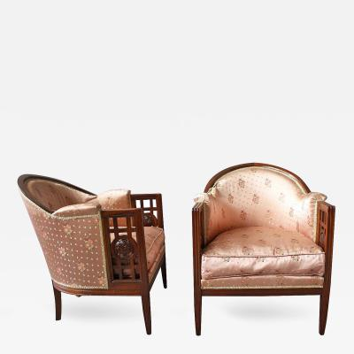 Maurice Dufre ne Fine Pair of French Art Deco Mahogany Armchairs