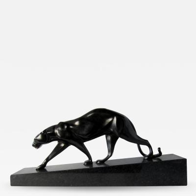 Maurice Gaston Elie Joseph Prost French Art Deco Patinated Cast Bronze Sculpture of a Black Panther