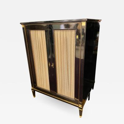 Maurice Hirsch Maurice Hirsch chicest black lacquered cabinet with gold bronze accent