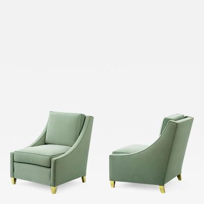 Maurice Hirsch Maurice Hirsch gold leg pair of slipper chairs