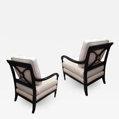 Maurice Hirsch Maurice Hirsch superb pair of neo classical chairs newly covered in raw silk