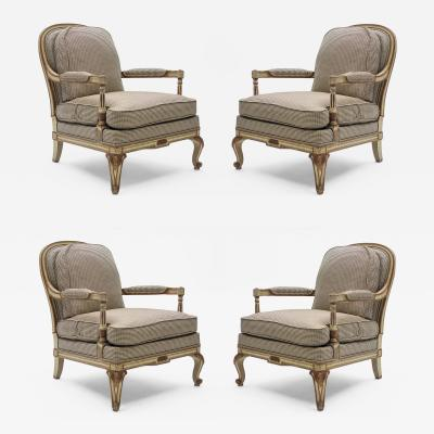 Maurice Hirsch Rare neoclassical set of 4 armchairs signed By Maurice Hirsch 1970s
