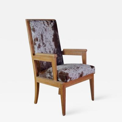 Maurice Jallot Maurice Jallot Pair of Oak Armchairs with Pony Hide