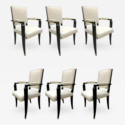 Maurice Jallot Maurice Jallot Set of 6 Black Neoclassic Chairs with Gold Bronze Details