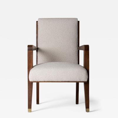 Maurice Jallot Modernist Mahogany Armchair by Maurice Jallot