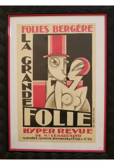 Maurice Picaud Lithographic Poster Folies Berg re