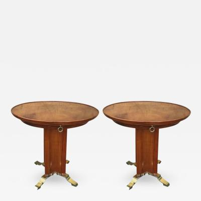 Maurice Rinck Maison Rinck Pair of Extremely Refined Side Tables with Exquisite Shape Drawer