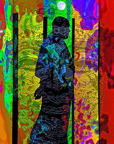 Maurizio Martinoli Monk Walk Manipulated Photograph on Metallic Paper