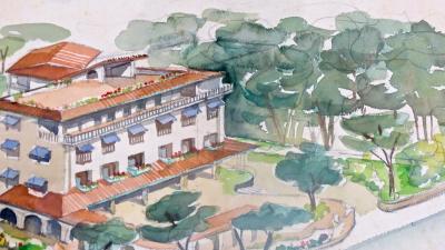 Maurizio Tempestini MAURIZIO TEMPESTINI Watercolor on Paper Albergo Al Forte mountain side 1939