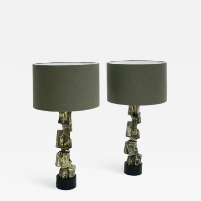 Maurizio Tempestini Mid Century Modern Designed by Maurizio Tempestini Pair of Brutalist Table lamps