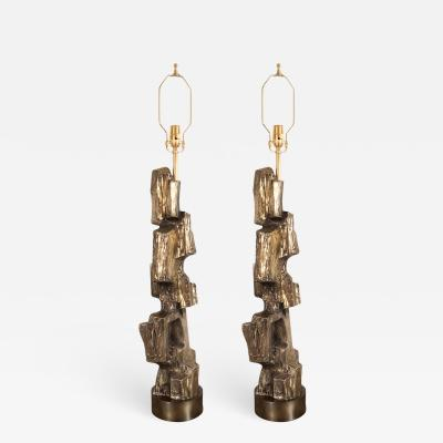 Maurizio Tempestini PAIR OF BRONZE BRUTALIST TABLE LAMPS
