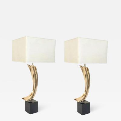 Maurizio Tempestini Pair of Polished Bass Laurel Lamps by Maurizio Tempestini